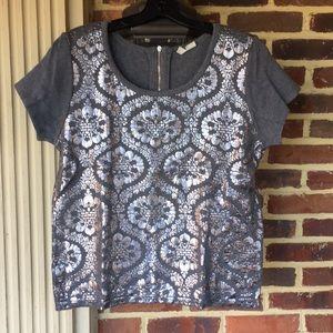 Anthropologie sweater shirt w/ silver design- Mint
